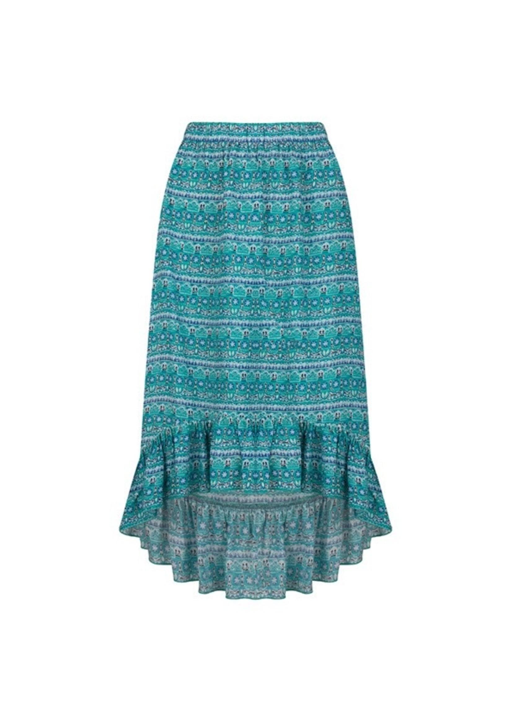 Esqualo Skirt high low blue lagoon Print