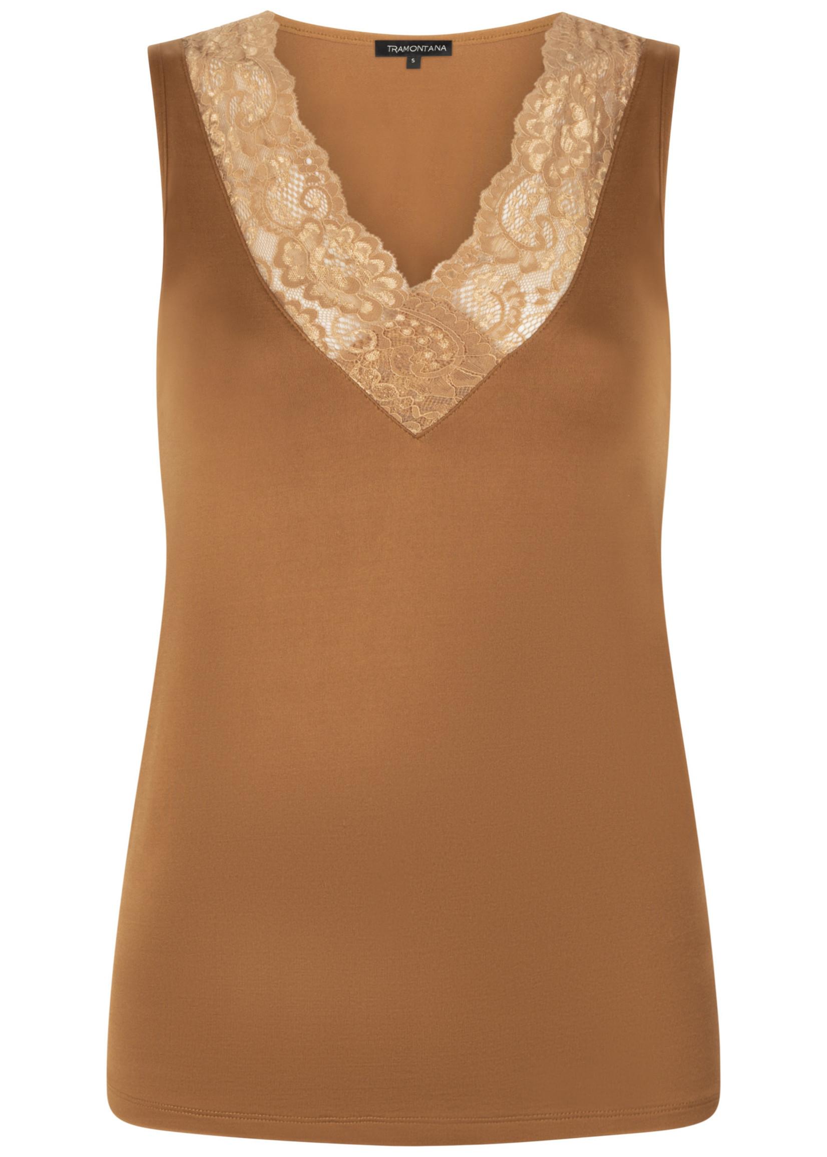 Tramontana Basic Top V-Neck Lace