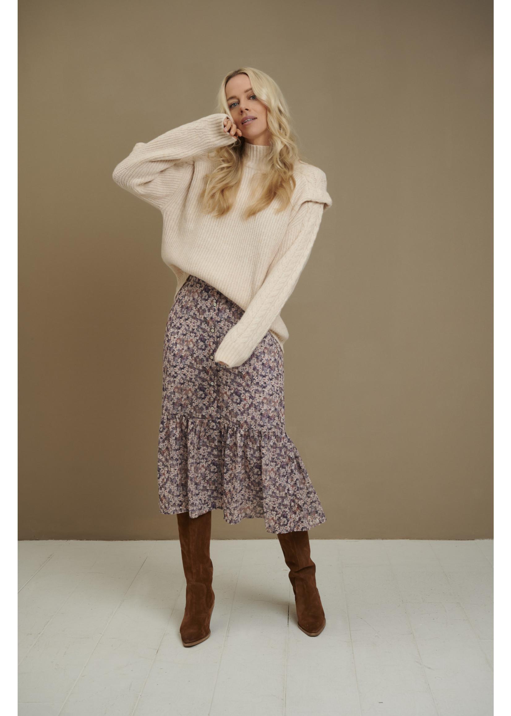 Esqualo Skirt buttoned closure lilac floral