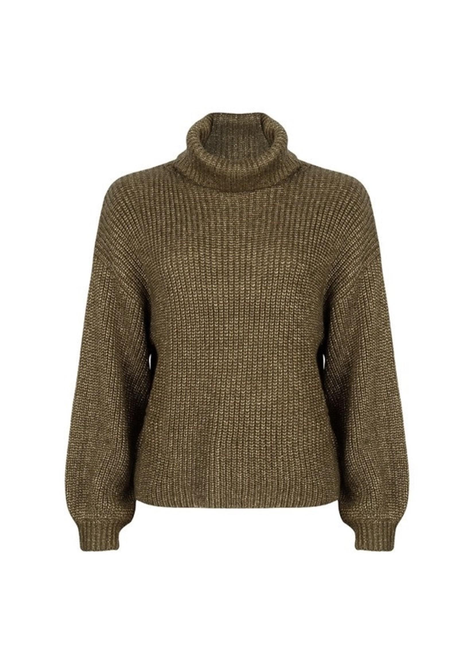 Esqualo Sweater lurex cropped ballon slv Army Green