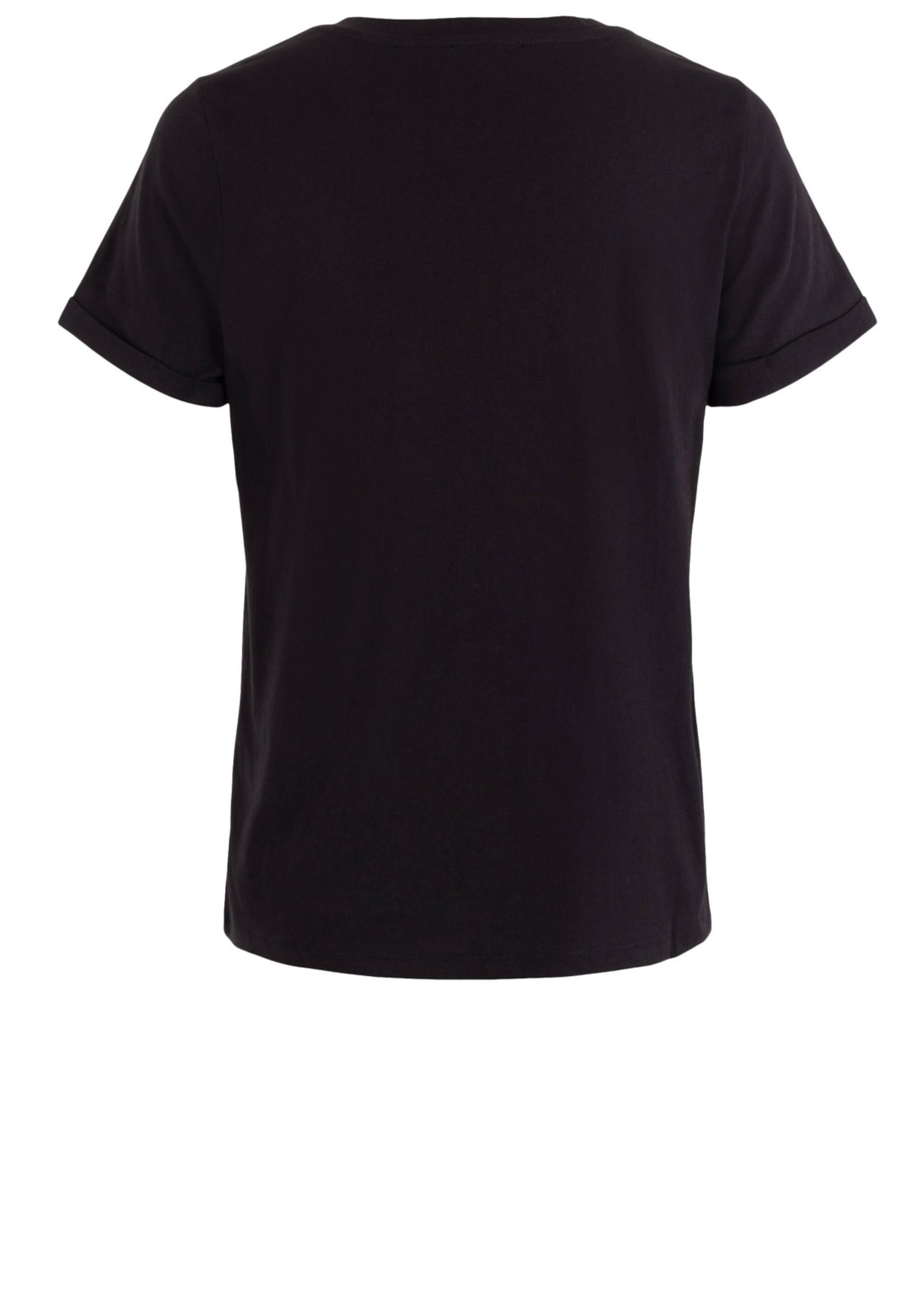 Anna T-shirt Black Solid Black Silver Stars