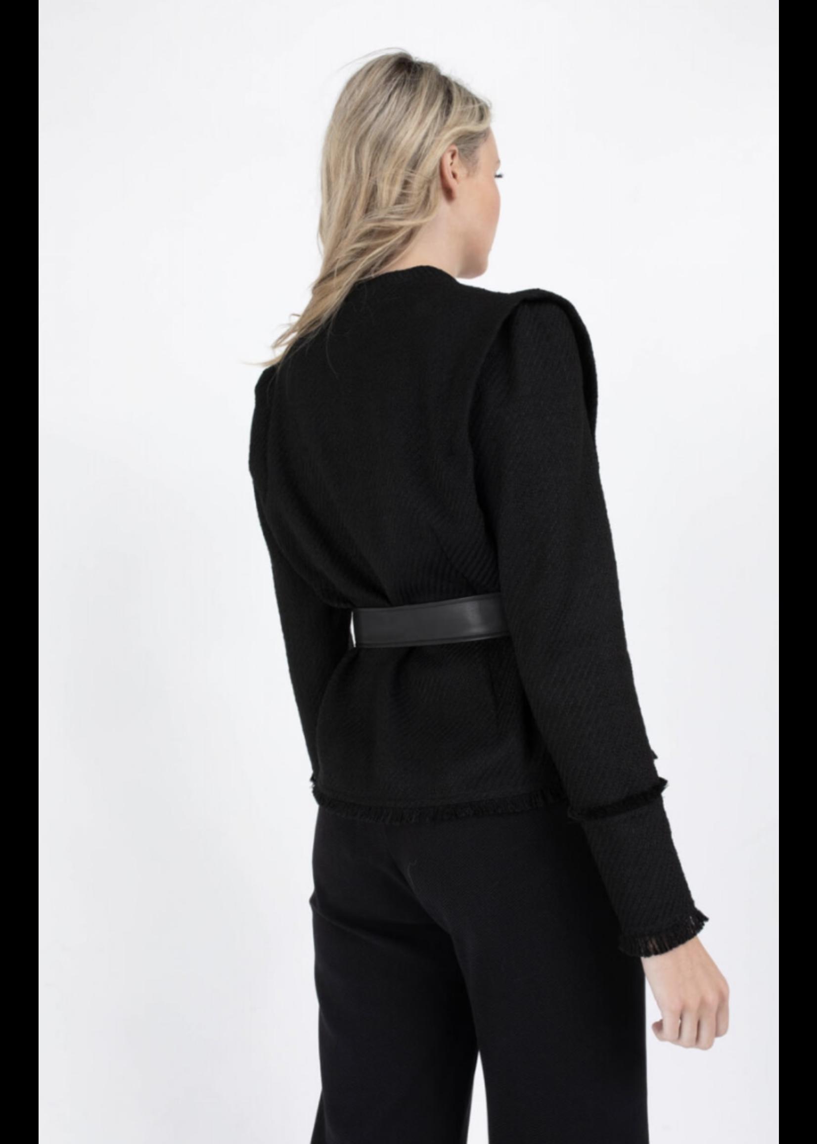 Anna Blazer Black Solid