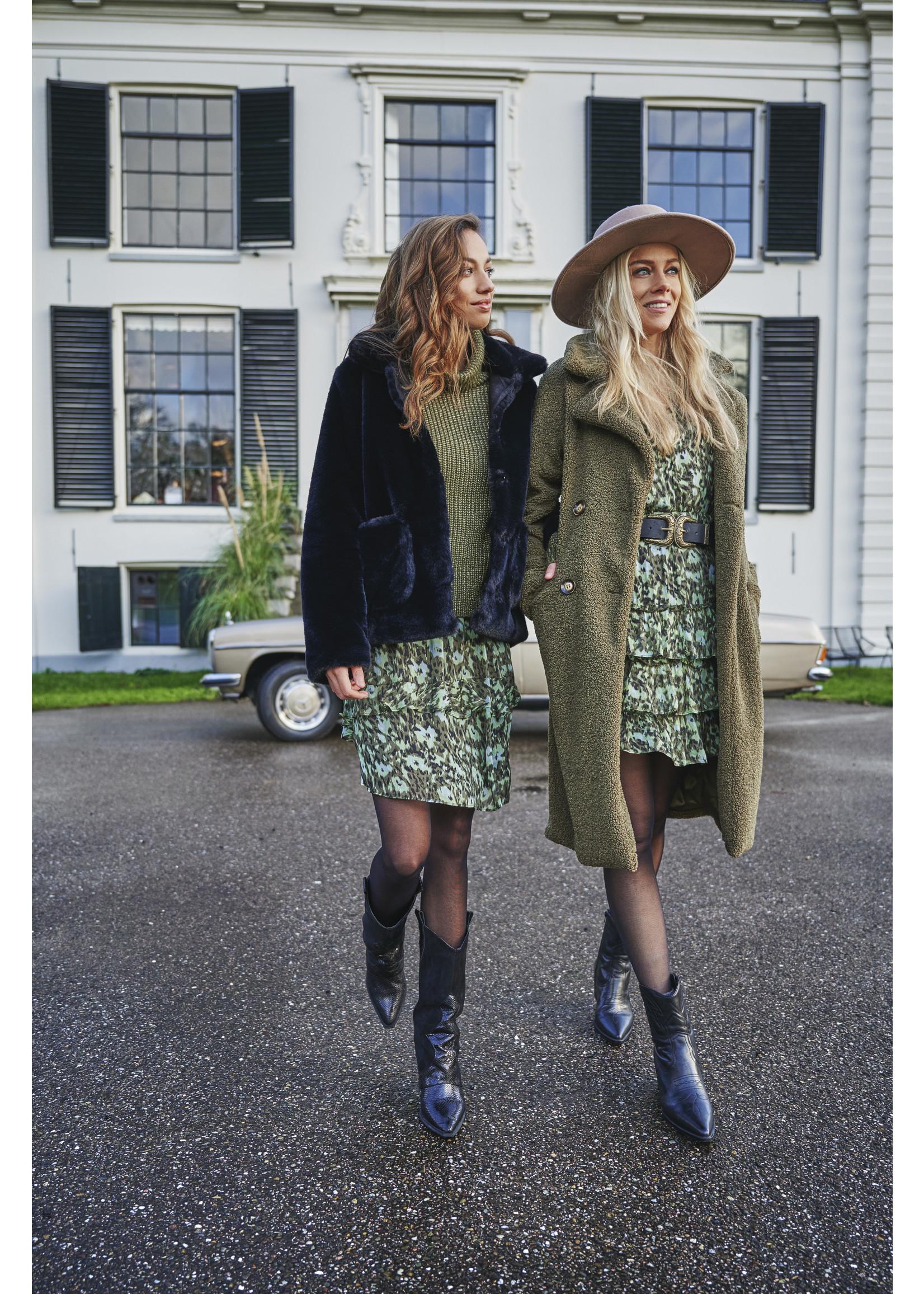 Esqualo Coat long boucle Green