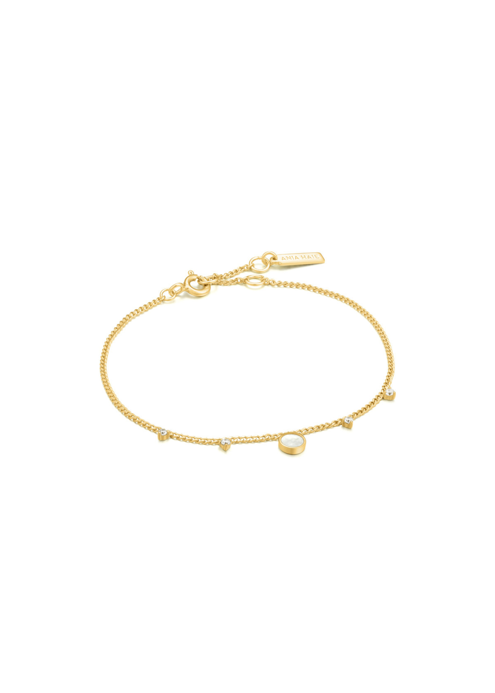 Ania Haie GOLD MOTHER OF PEARL DROP DISC BRACELET