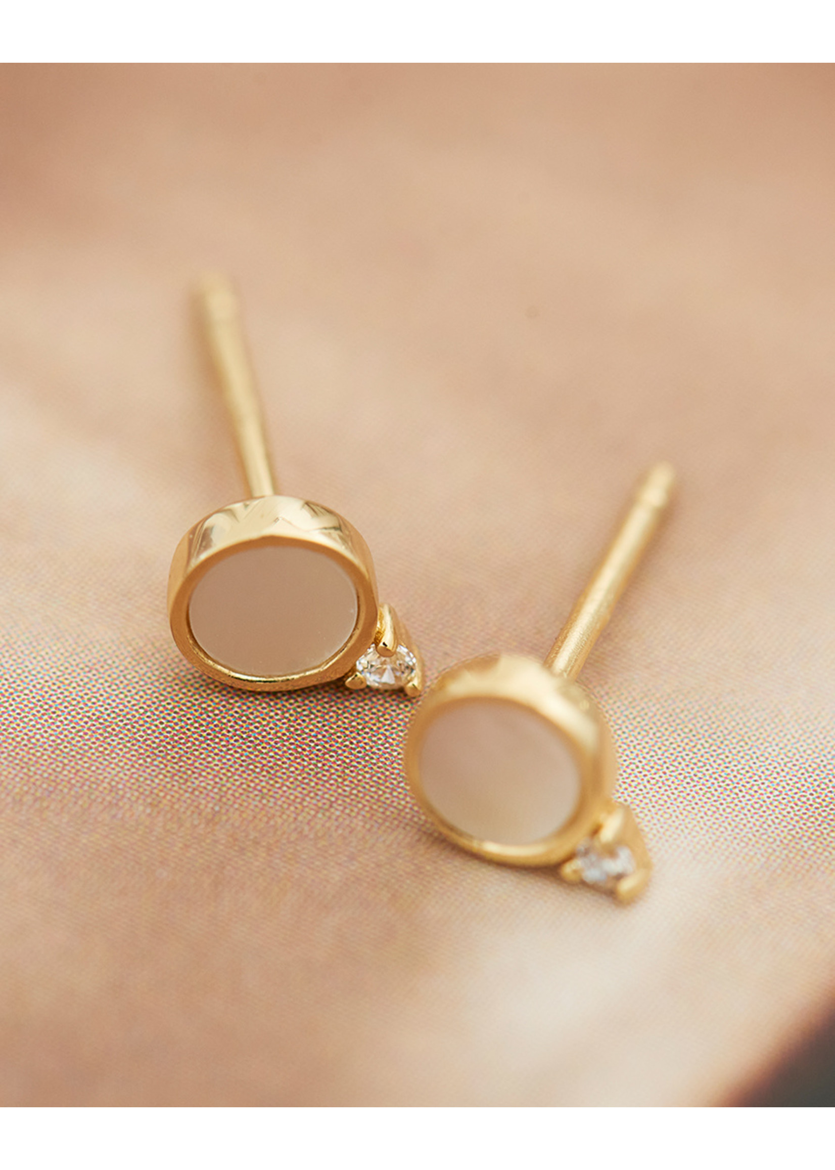 Ania Haie GOLD MOTHER OF PEARL STUD EARRINGS