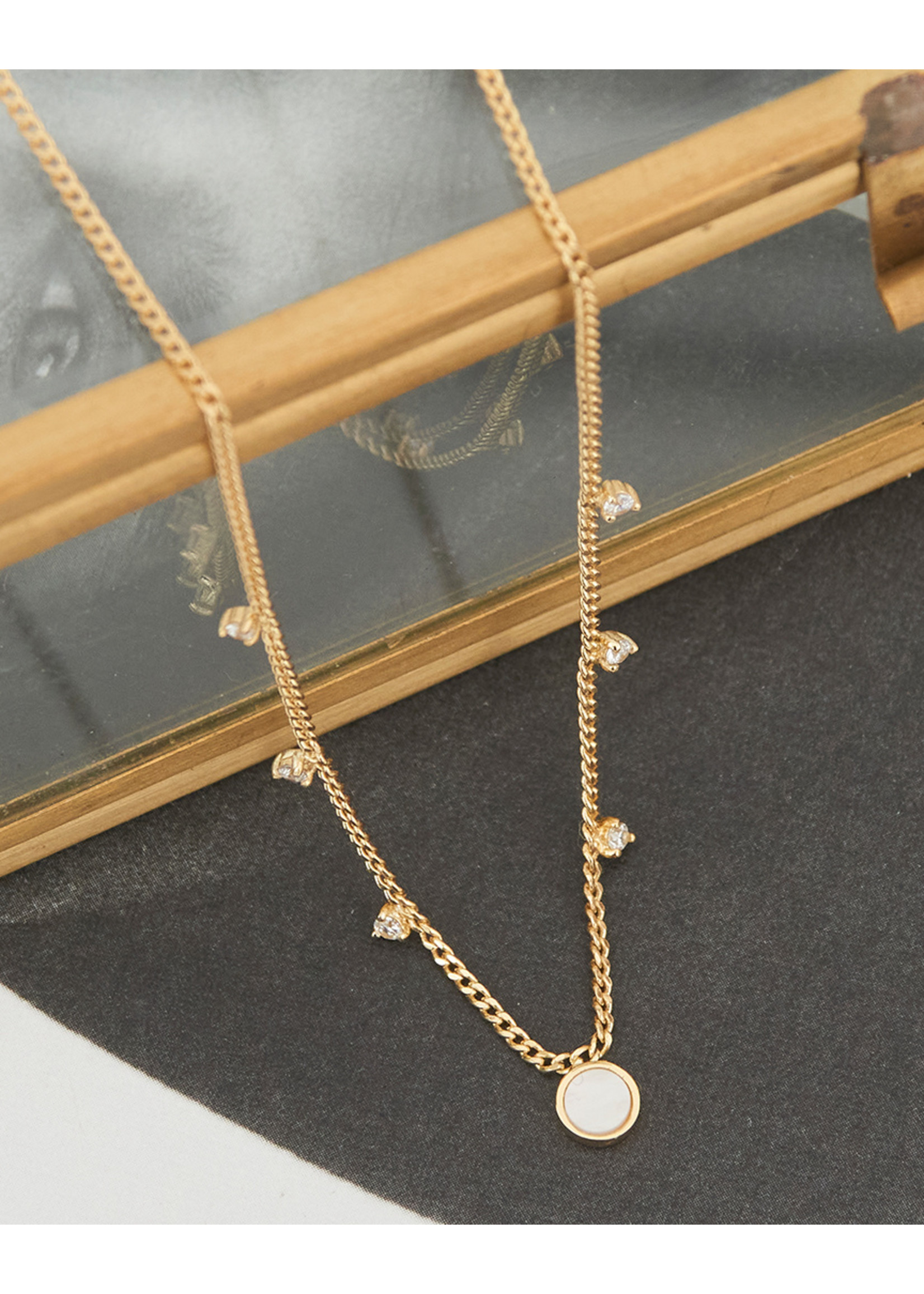 Ania Haie GOLD MOTHER OF PEARL DROP DISC NECKLACE