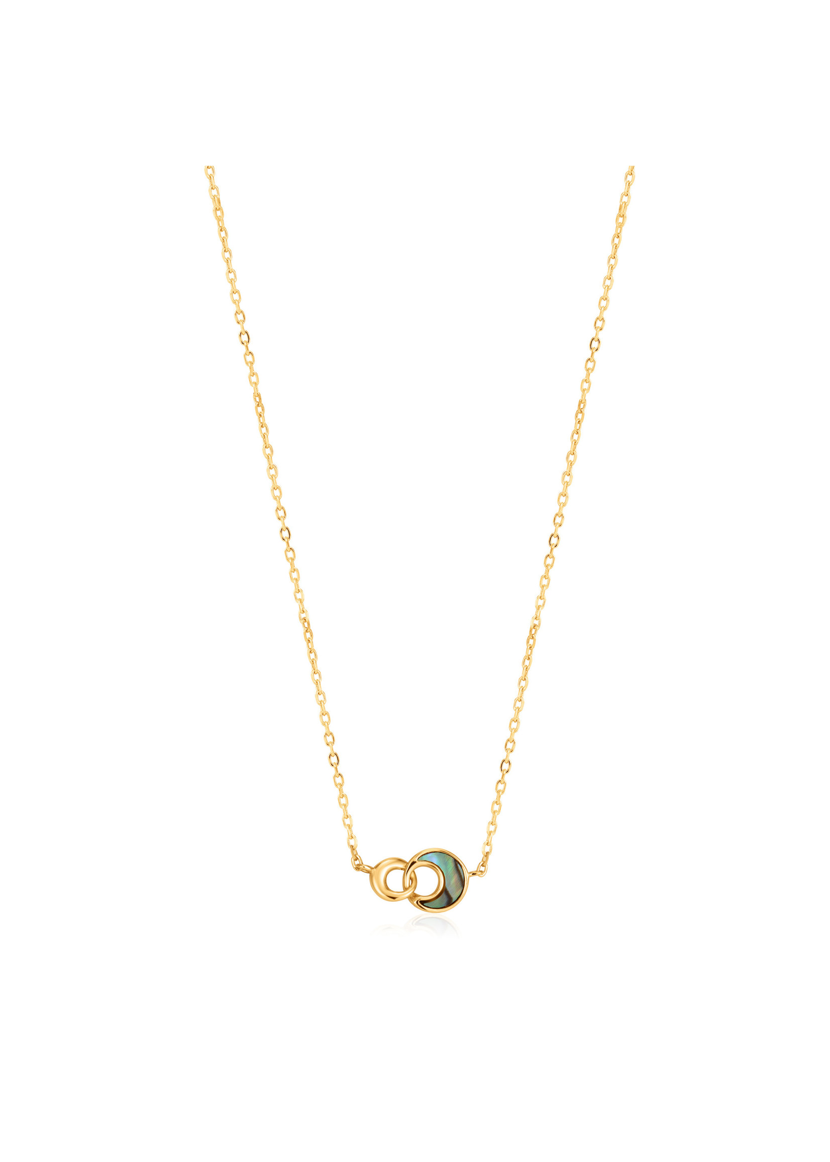 Ania Haie GOLD TIDAL ABALONE CRESCENT LINK NECKLACE