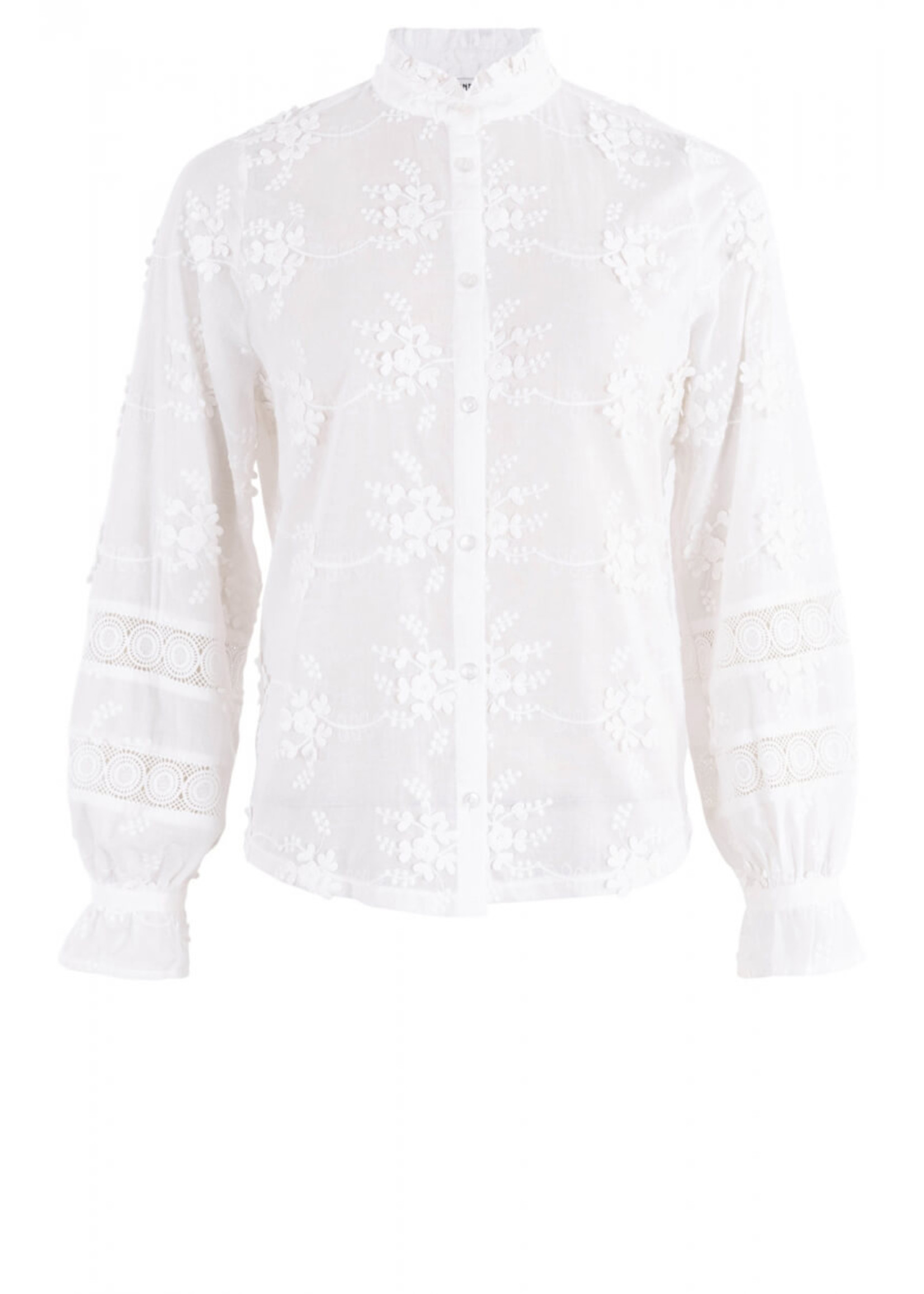 Anna Blouse Lange mouw OffWhite White Base Solid