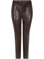 Tramontana Trousers Shiny Coated Suedine DarkBrown