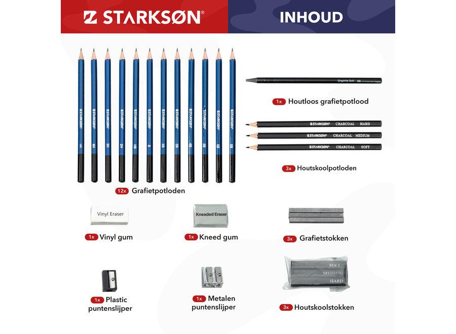 STARKSØN® Professioneel 27-Delige Potloden Tekenset incl. Tekenpotloden, Schetspotloden & Accessoires