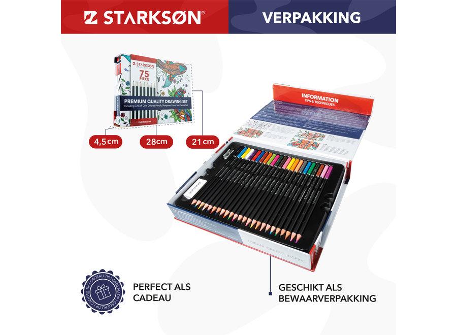 STARKSØN® Professioneel 75-Delige Kleurpotloden Tekenset – Tekenpotloden & Schetspotloden Set