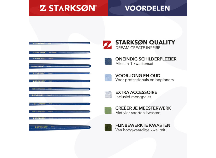 STARKSØN® 27-Delige Verf Penselen & Kwasten Set voor Acrylverf, Waterverf & Olieverf