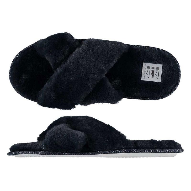Apollo Zachte fluffy dames slippers cross over