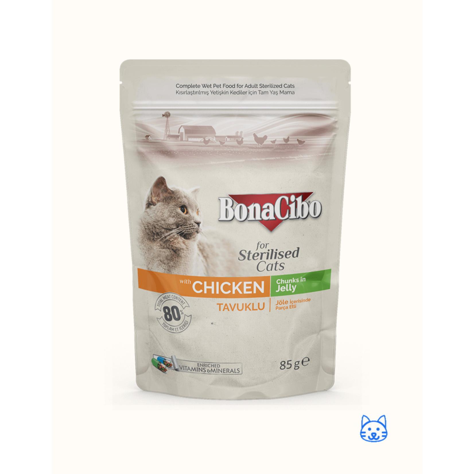 Bonacibo Bonacibo Pouch Sterilised Kip Kattenvoer - 12 x 85gr