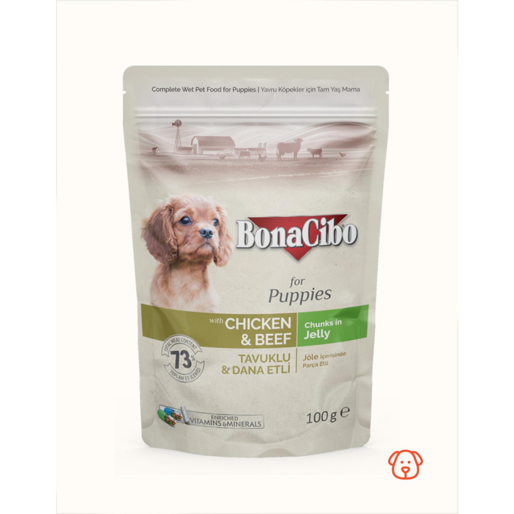 Bonacibo Bonacibo Pouch Kip & Kalf Puppyvoer - 12 x 100gr