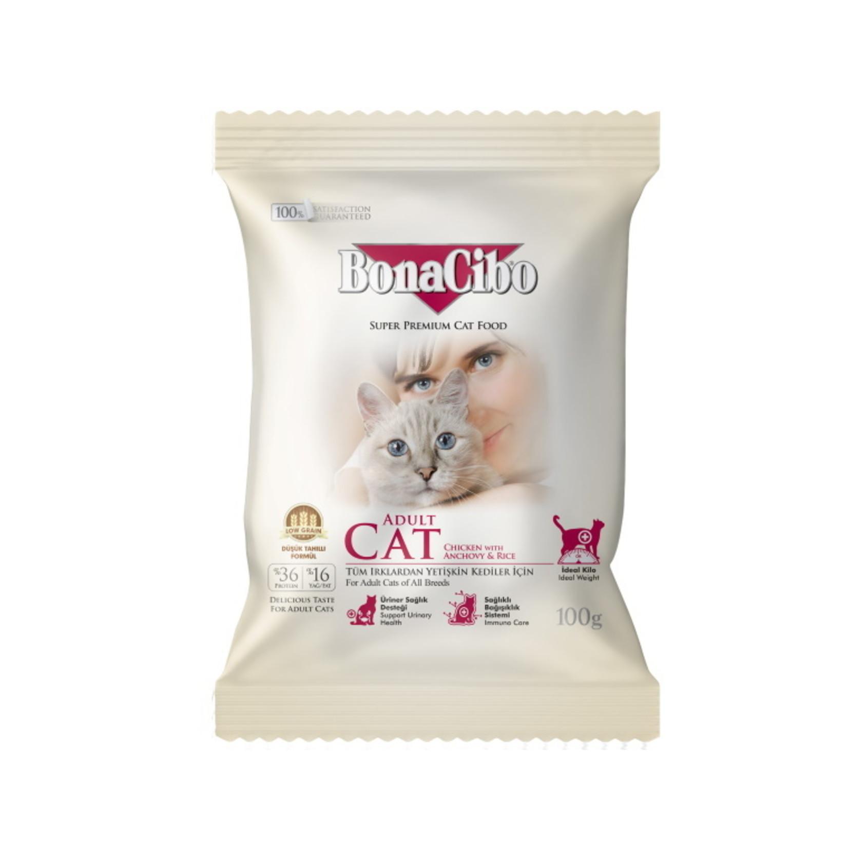 Bonacibo Sample 100 GR   BonaCibo Adult Cat Kip & Rijst met Ansjovis