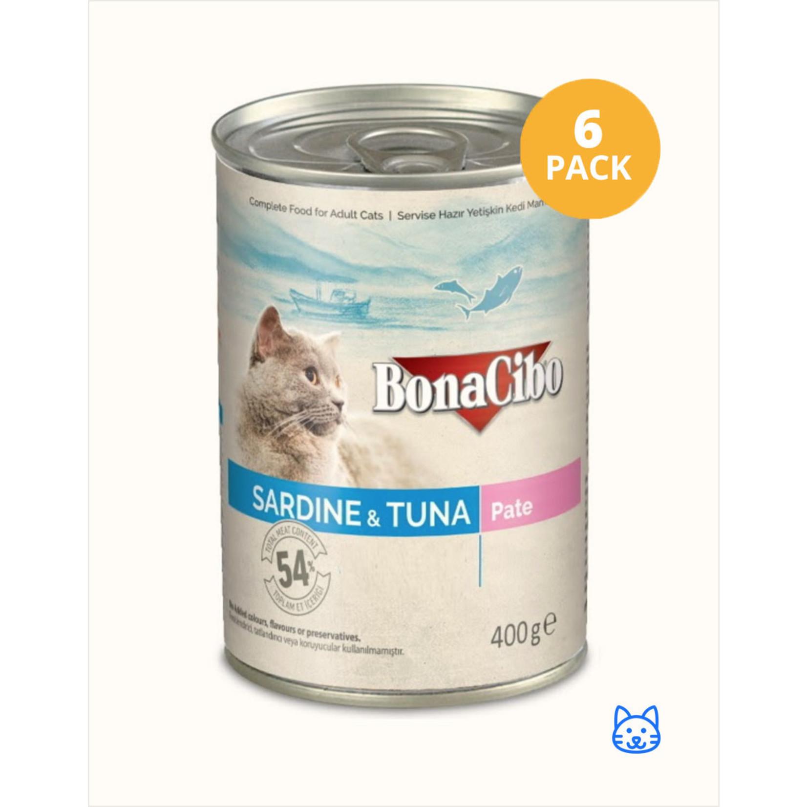 Bonacibo Bonacibo Blikvoer Sardine & Tonijn Kattenvoer 6 x 400gr