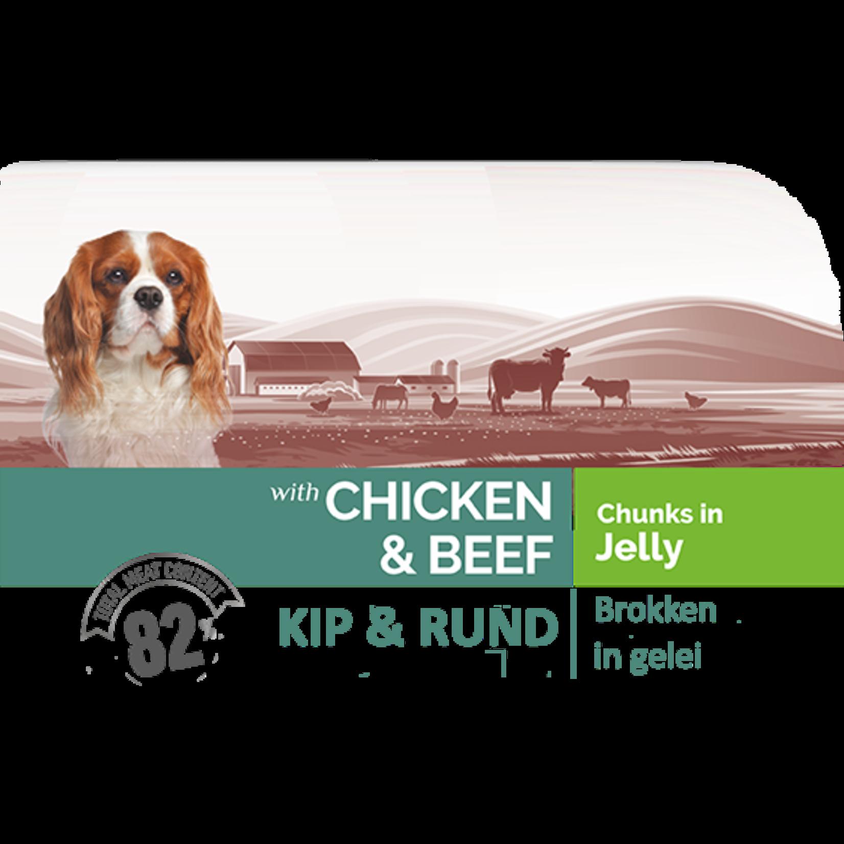 Bonacibo Bonacibo Pouch Kip & Kalf Hondenvoer - 12 x 100gr