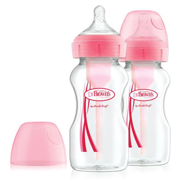 Dr. Brown's Dr. Brown's - Options+ Anti-colic  - Brede halsfles roze - 270 ml - 2 stuks