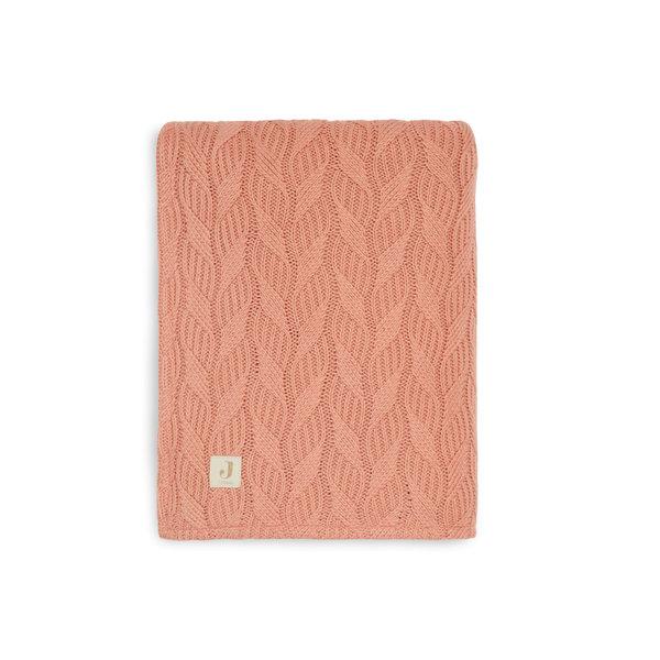 Jollein Jollein - Deken 100x150cm Spring Knit - Rosewood/Coral Fleece
