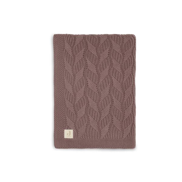 Jollein Jollein - Deken 100x150cm Spring knit - Chestnut/Coral Fleece