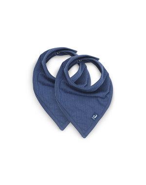 Jollein Slabbetje Bandana Basic Stripe - Jeans Blue - 2 Stuks
