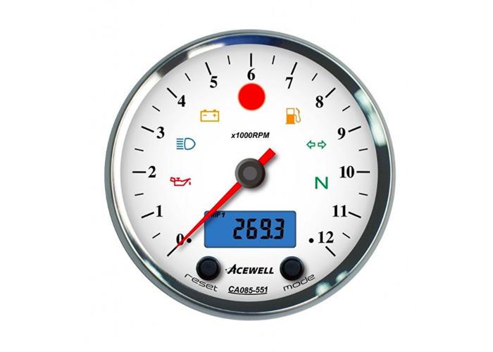 Acewell CA085 12.000RPM Teller Chrome Behuizing en Witte Wijzerplaat