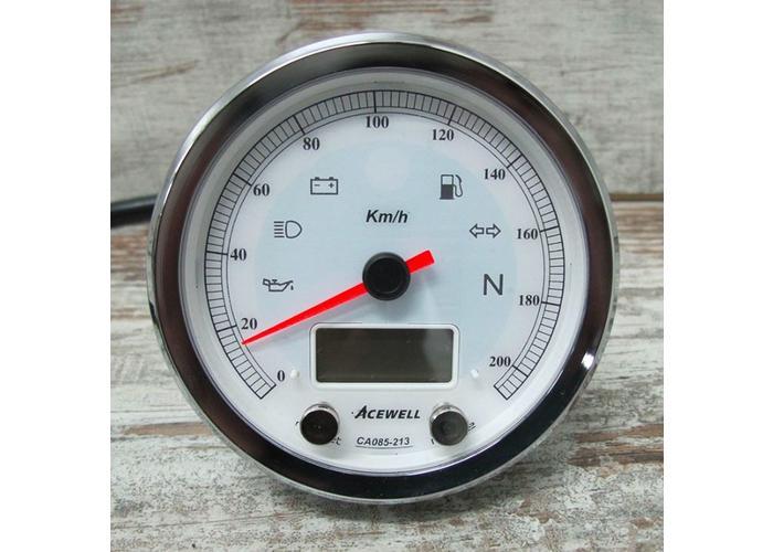 Acewell CA085 210 KM/H Teller Chrome Behuizing en Witte Wijzerplaat