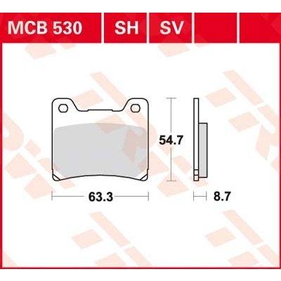 TRW MCB 530H Remblokken Achter - Yamaha TDM 850