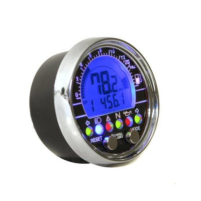 Acewell Digitaal Dash KM/H & RPM ACE-2853 Chroom