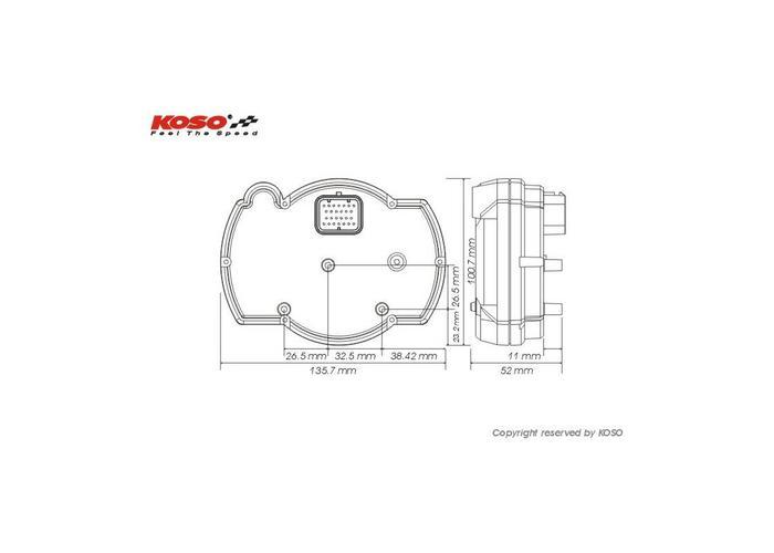 KOSO RX2NR + - Toerenteller met thermometer en temp. alarm - shiftlicht