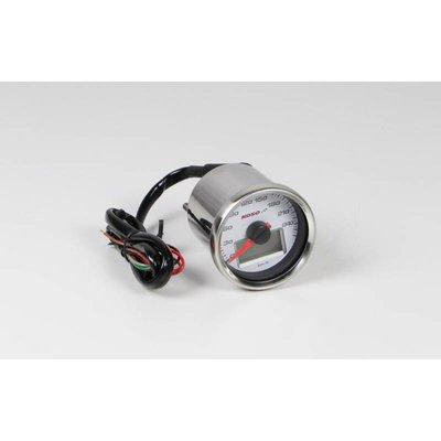 KOSO (max. 260 km/h) D55 GP Style Snelheidsmeter, Wit met Blauwe Backlight