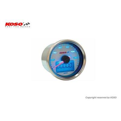 KOSO (max 140 mph) D55 GP Style Snelheidsmeter, Wit met Blauwe Backlight