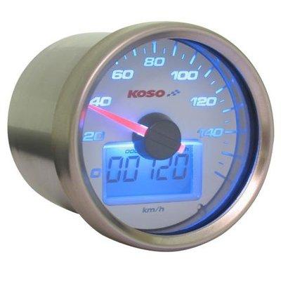 KOSO (max 160 kmh) D55 GP Style Snelheidsmeter, Wit met Blauwe Backlight