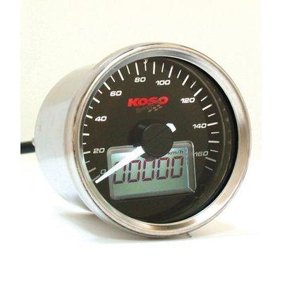 KOSO (max 160 km/h) D55 GP Style Snelheidsmeter Zwart, Wit Verlicht