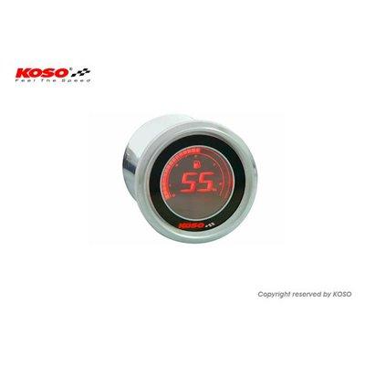 KOSO D48 Benzine Meter (Zwart LCD - Rood)
