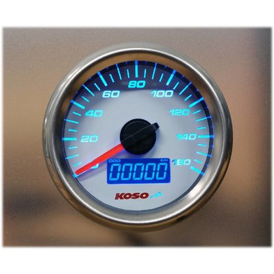 KOSO (max 160 kmh / mph) D48 GP Style Snelheidsmeter ODO, Trip Witte plaat
