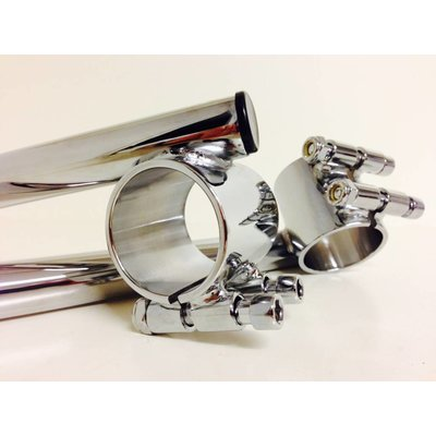"Emgo 1"" / 25.4mm 41MM Chrome Clipons Triumph, BMW"