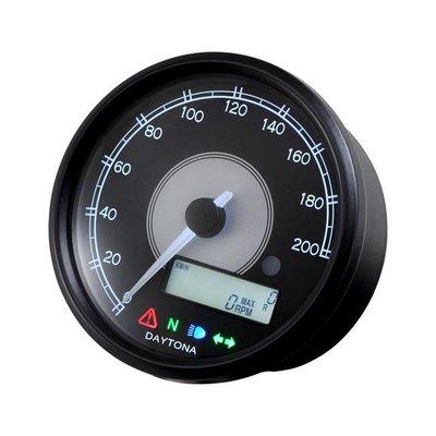 Daytona Velona 200 km/h & RPM Teller Zwart 80MM