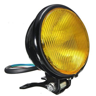 "5"" Oldskool Cafe Racer Koplamp Black & Yellow"
