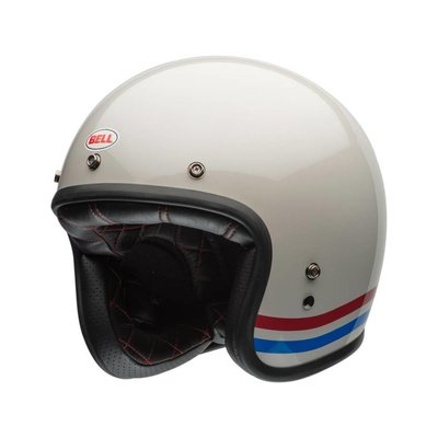 Bell Custom 500 Helm Solid Stripes Pearl White