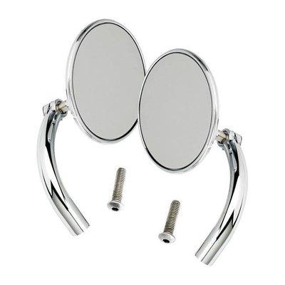 Biltwell Utility Mirror Set Round Perch Mount Chrome