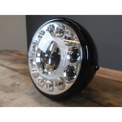 7.7 INCH High Powered LED Black Metal Koplamp + Witte Halo