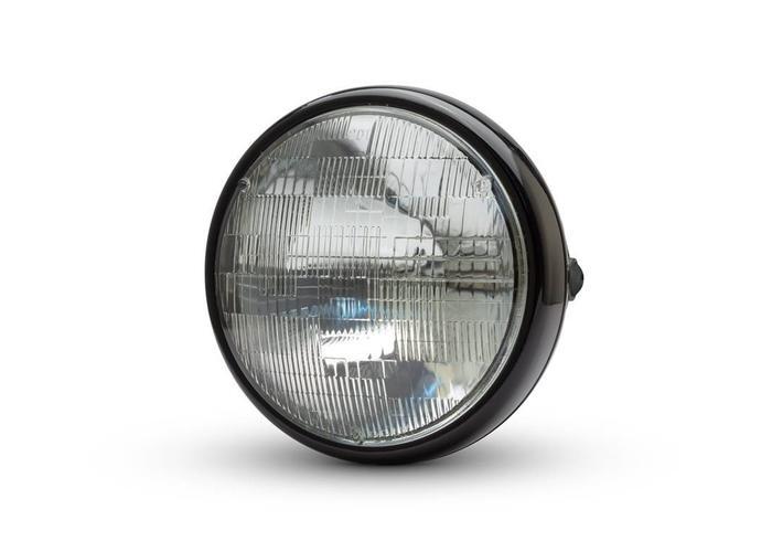 "7 ""glanzende zwarte Shorty metalen koplamp - 12v / 55w sealed beam"