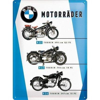 BMW Motorrader Chart 30x40cm Blikken bord