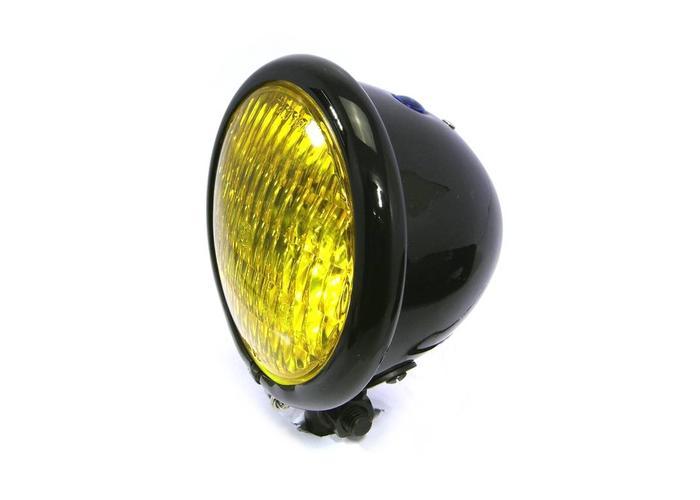 """4.75"""" Chopper Koplamp """"Bates Style"""" Black & Yellow"""