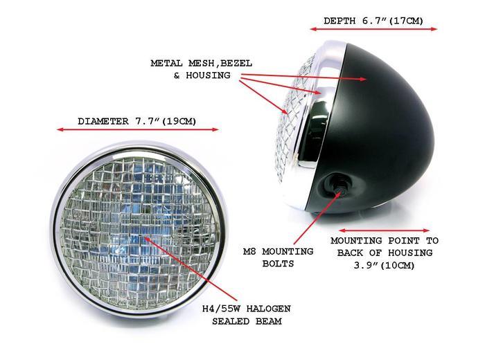 "7.7"" Scrambler Koplamp Black & Chrome Extra Groot"