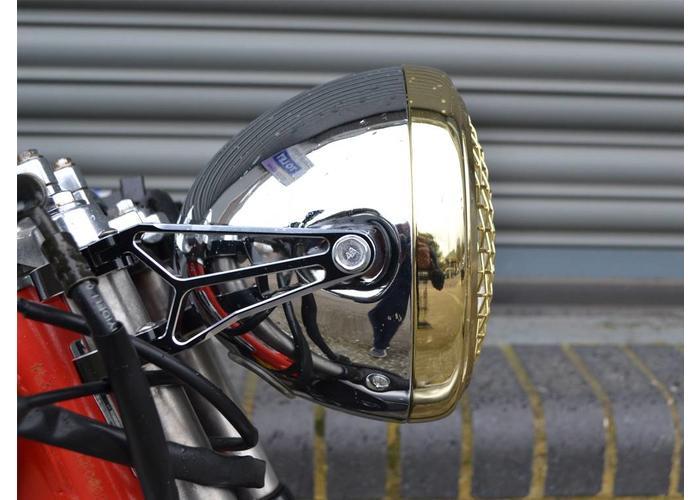 """7.7"""" Scrambler Koplamp Brass & Chrome Extra Groot"""