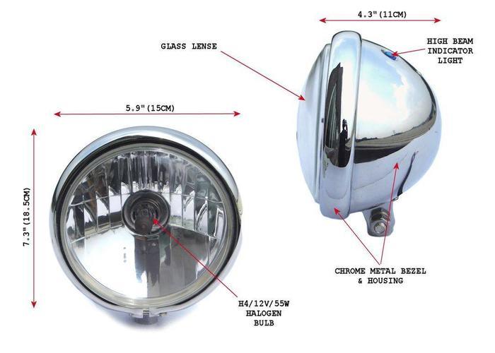 "5.75"" Chopper Koplamp Chrome Universeel"