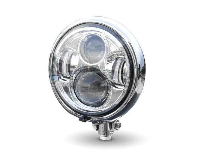 """5,75"""" CREE QUAD LED Bates Style Koplamp Bottom Mount Chrome"""